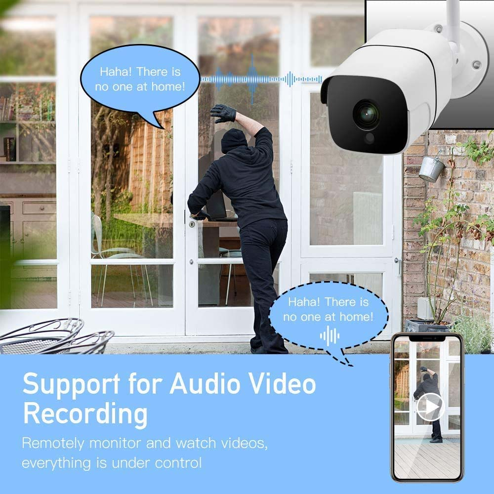 Outdoor Security Camera 1080P Wireless for Home Security with IP66 Weatherproof Motion Detection Night Vision 2-Way Audio
